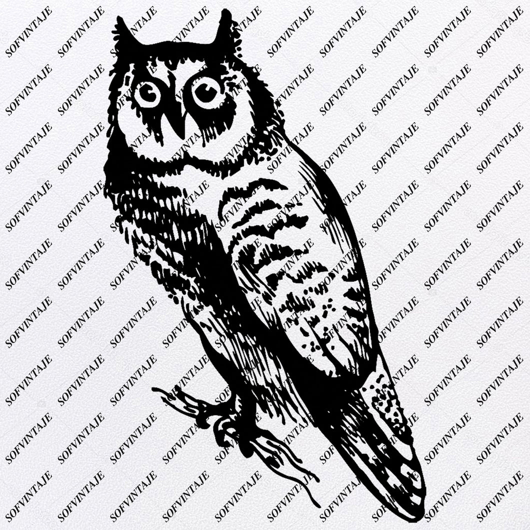 Owl Svg File - Owl Tattoo Svg Design-Clipart-Animals Svg File-Animals Png-Vector Graphics -Svg For Cricut-For Silhouette - SVG - EPS - PDF - DXF - PNG - JPG - AI