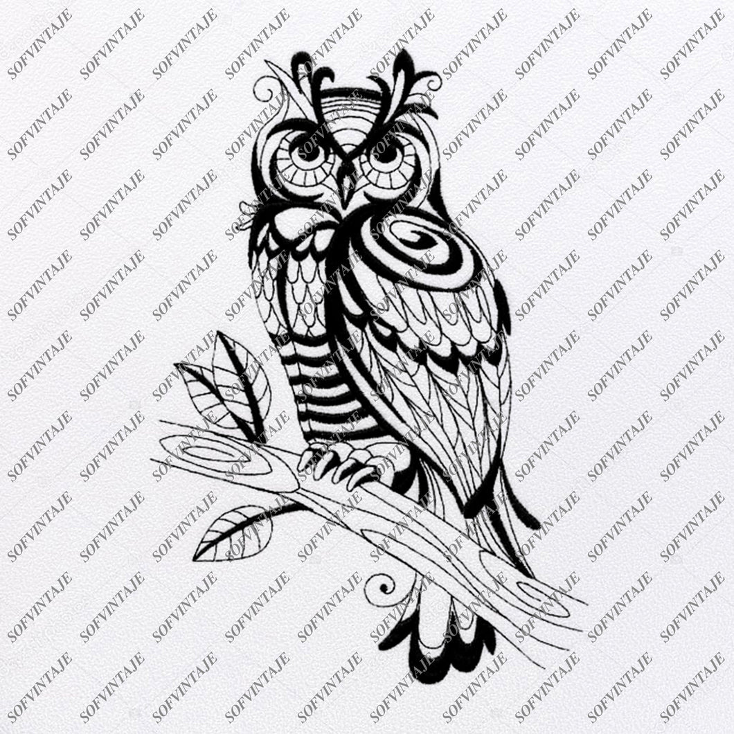 Owl Svg File - Owl Tattoo Svg Design-Clipart-Animals Svg File-Animals Png-Vector Graphics -Svg For Cricut-For Silhouette - SVG - EPS - PDF -DXF - PNG - JPG - AI