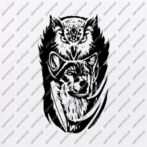 Owl and Wolf Svg File-Owl Wolf Tattoo Svg Design-Clipart-Animals Svg File-Animals Png-Vector Graphics-Svg For Cricut-For Silhouette - SVG - EPS - PDF - DXF - PNG - JPG - AI