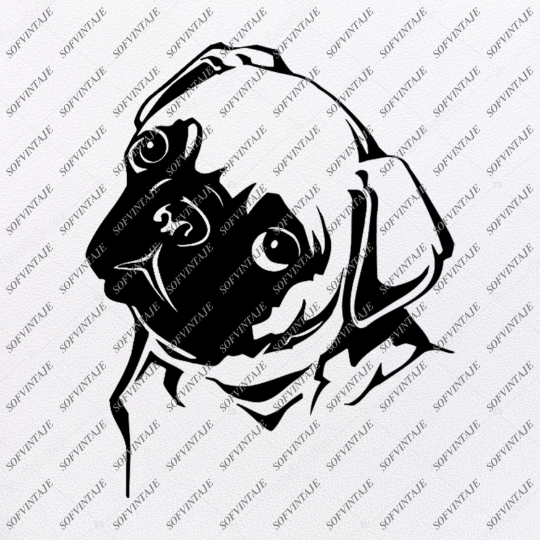 Pug Dog Svg File-Pug Dog Tattoo Svg Original Design-Dog Clip art-Animals Svg File-Vector Graphics-Svg For Cricut-For Silhouette - SVG - EPS - PDF - DXF - PNG - JPG - AI