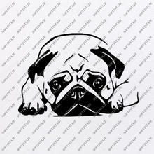 Load image into Gallery viewer, Pug Dog Svg File-Pug Dog Tattoo Svg Original Design-Dog Clip art-Animals Svg File-Vector Graphics-Svg For Cricut-For Silhouette - SVG - EPS - PDF - DXF - PNG - JPG - AI
