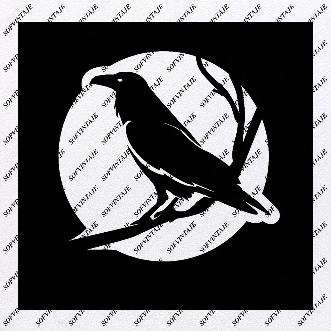 Raven Svg File - Raven Tattoo Svg Design-Clipart-Animals Svg File-Personalized Svg-Vector Graphics-Svg For Cricut-For Silhouette-SVG - EPS - PDF - DXF - PNG - JPG - AI
