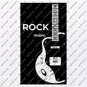 Rock  Svg File - Rock Guitar Original Svg Design-Music Svg-Clip art-Rock Vector Graphics-Svg For Cricut-Svg For Silhouette - SVG - EPS - PDF - DXF - PNG - JPG - AI