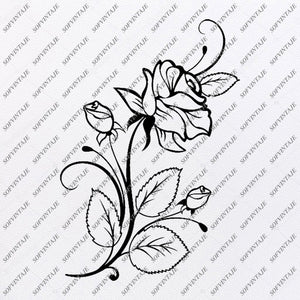 Rose Svg File-Flower of Love Original Svg Design-Tattoo Svg-Clip art-Flower Vector Graphics-Svg For Cricut-Svg For Silhouette - SVG - EPS - PDF - DXF - PNG - JPG - AI