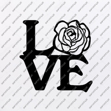 Load image into Gallery viewer, Rose Svg File-Flower of Love Original Svg Design-heart Tattoo Svg-Clip art-Flower Vector Graphics-Svg For Cricut-Svg For Silhouette - SVG - EPS - PDF - DXF - PNG - JPG - AI