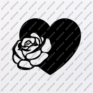 Rose Svg File-Flower of Love Original Svg Design-heart Tattoo Svg-Clip art-Flower Vector Graphics-Svg For Cricut-Svg For Silhouette - SVG - EPS - PDF - DXF - PNG - JPG - AI