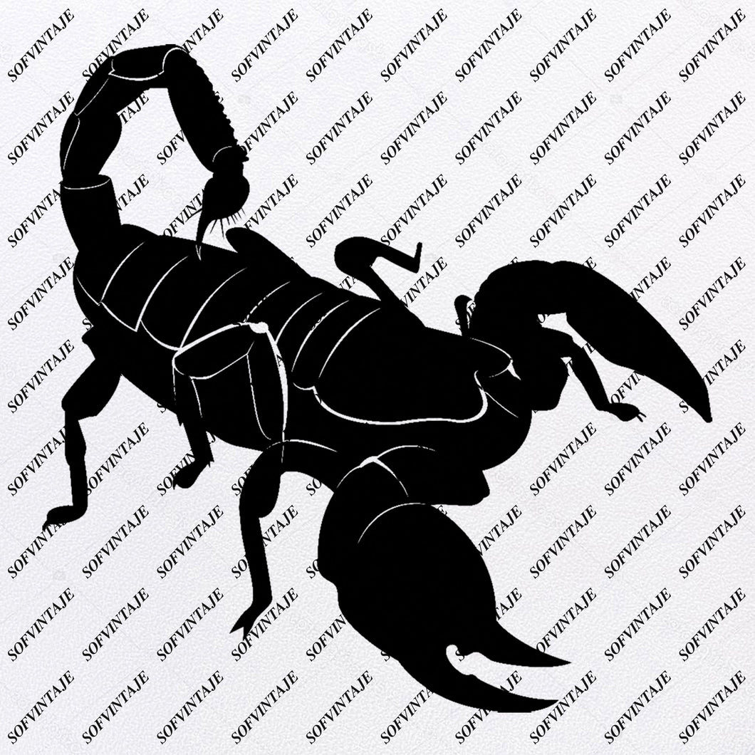 Scorpio Svg File-Black Scorpio-Original Svg Design-Animals Svg-Clip art-Scorpio Vector Graphics-Svg For Cricut-Svg For Silhouette - SVG - EPS - PDF - DXF - PNG - JPG - AI