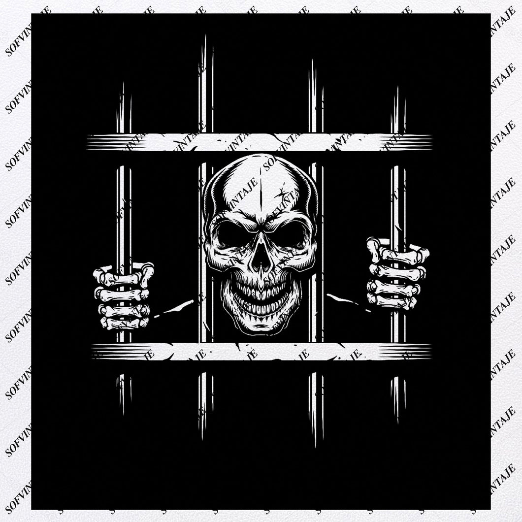 Skull - Caged Skull Svg File-Skull Svg Design - Clipart - Skull In Turm Svg File-Skull Png-Vector Graphics-Svg For Cricut-For Silhouette - SVG - EPS - PDF - DXF - PNG - JPG - AI