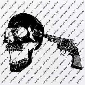 Skull - Skull Gun Svg File-Skull Svg Design - Clipart-Skull Svg Files-Skull Png-Vector Graphics-Svg For Cricut-For Silhouette - SVG - EPS - PDF - DXF - PNG - JPG - AI