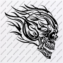 Load image into Gallery viewer, Skull Svg File-Skull Svg Design - Clipart-Motorcycles Svg File-Skull Png-Vector Graphics-Svg For Cricut-For Silhouette - SVG - EPS - PDF - DXF - PNG - JPG - AI
