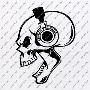 Skull Svg File-skull with headphones Svg Design - Clipart-Tattoo Svg File-Skull Png-Vector Graphics-Svg For Cricut-For Silhouette - SVG - EPS - PDF - DXF - PNG - JPG - AI