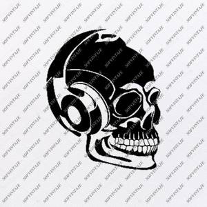 Skull With Headphones Svg File-Skull Svg Design-Clipart-Skull Tattoo Svg -Skull Png-Vector Graphics-Svg For Cricut-For Silhouette - SVG - EPS - PDF - DXF - PNG - JPG - AI