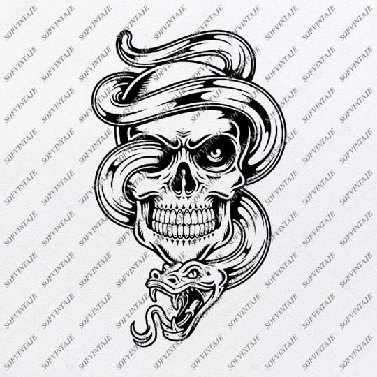 Snake in The Skull Svg File-Skull Svg Design - Clipart-Tattoo Svg File-snake Png-Vector Graphics-Svg For Cricut-For Silhouette - SVG - EPS - PDF - DXF - PNG - JPG - AI