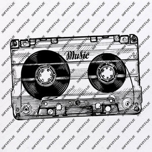 Tape Cassette Svg File- Tape Cassette Original Svg Design-cassette player Svg-Clip art- Tape Cassette  Vector Graphics-Svg  For Cricut-Svg For Silhouette - SVG - EPS - PDF - DXF - PNG - JPG - AI