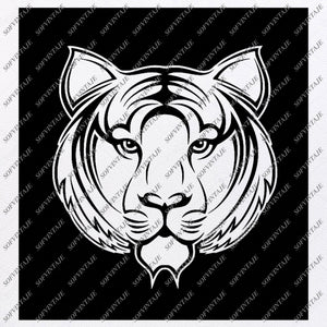 Tiger - Tiger Face Svg File - Tiger Original Svg Design - Animals Svg - Clip art - Tiger Vector Graphics- Svg For Cricut - Svg For Silhouette - SVG - EPS - DXF - PDF - PNG - JPG - AI