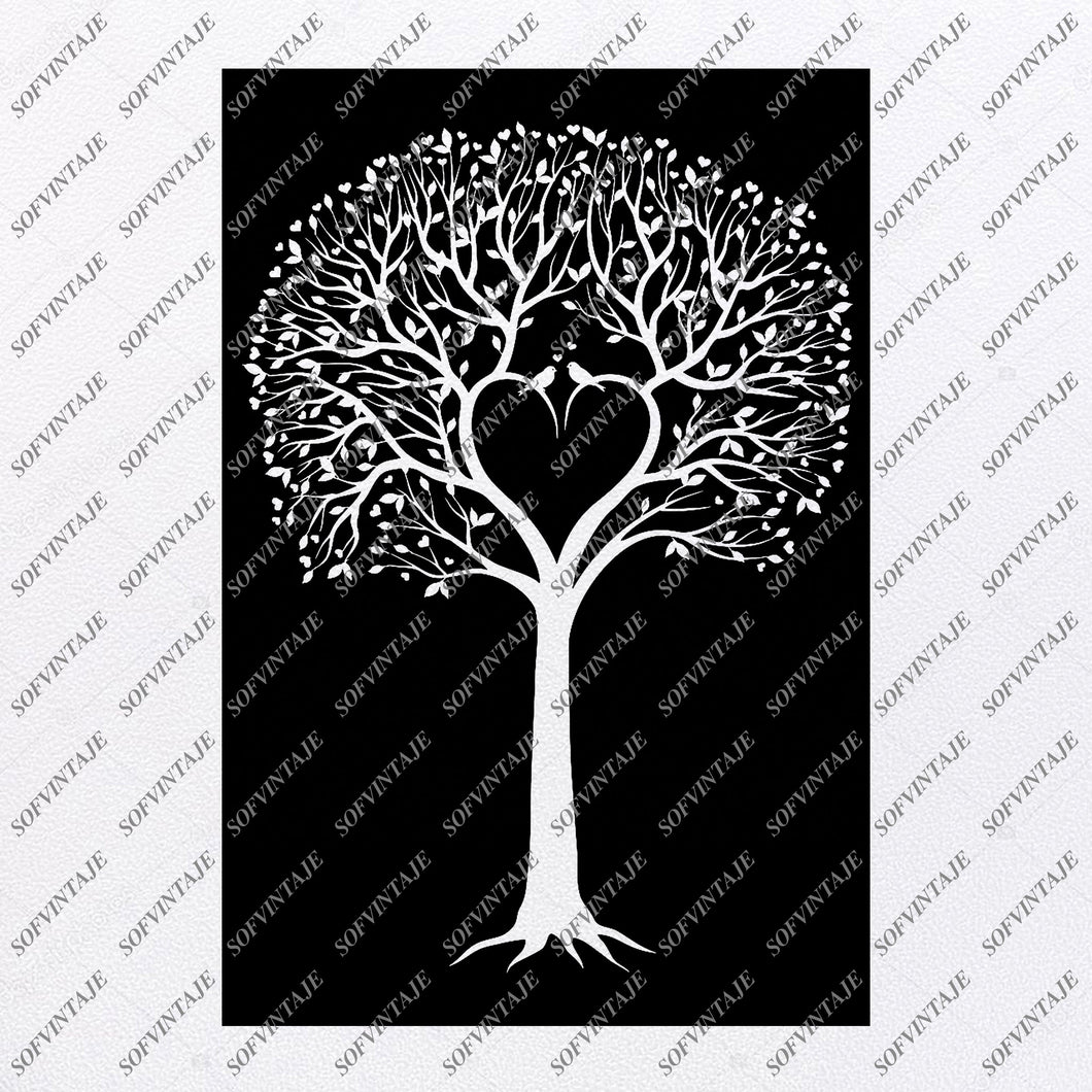 Tree Svg File-Love Tree  Svg File- Heart Original Svg Design-Tattoo Svg-Clip art-Tree Vector Graphics-Svg For Cricut-Svg For Silhouette - SVG - EPS - PDF - DXF - PNG - JPG - AI