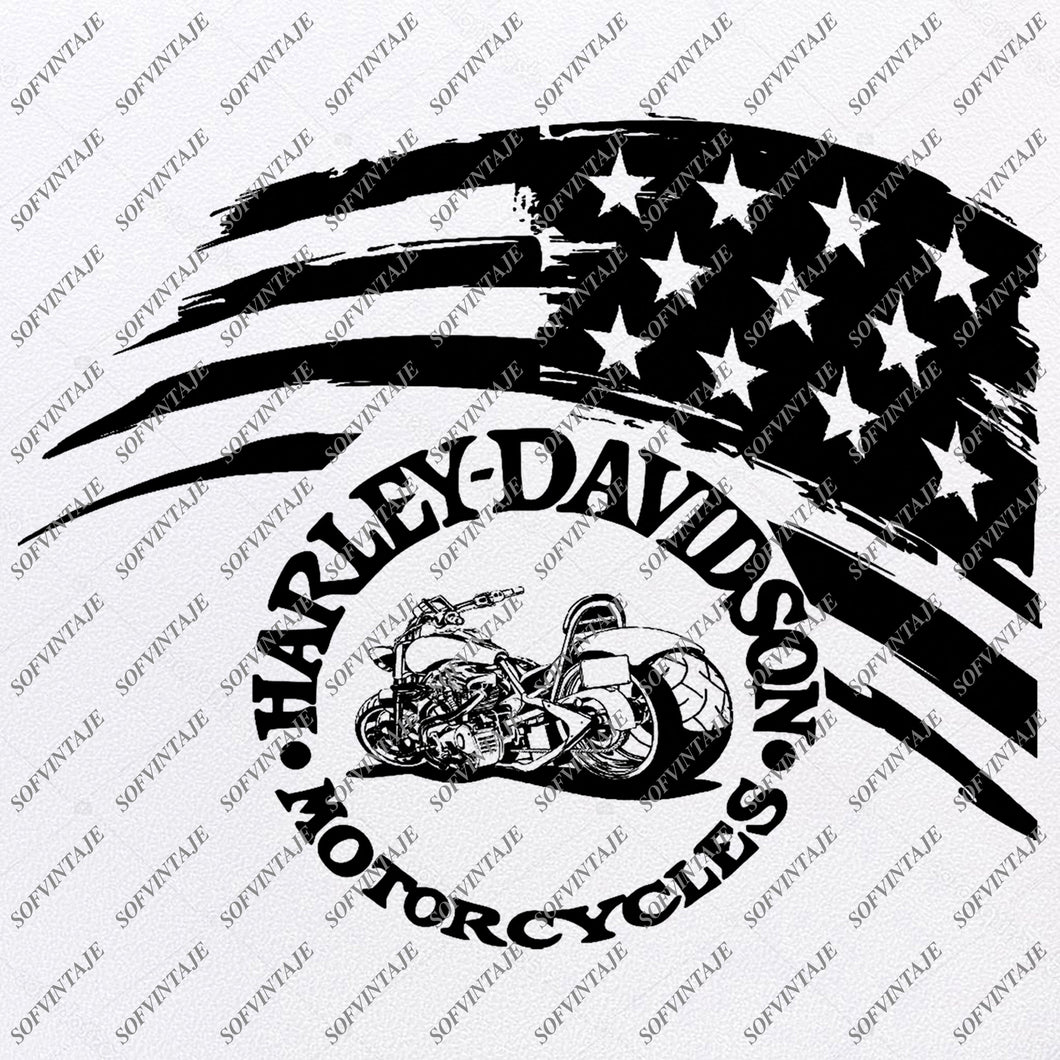 USA Flag -  Harley Davidson Svg File- Motorcycle Harley Davidson Svg Design-Clipart-Tattoo For Motorcycle- Harley Davitson Png-Vector Graphics-Svg For Cricut-For Silhouette-SVG - EPS - PDF - DXF - PNG - JPG -AI