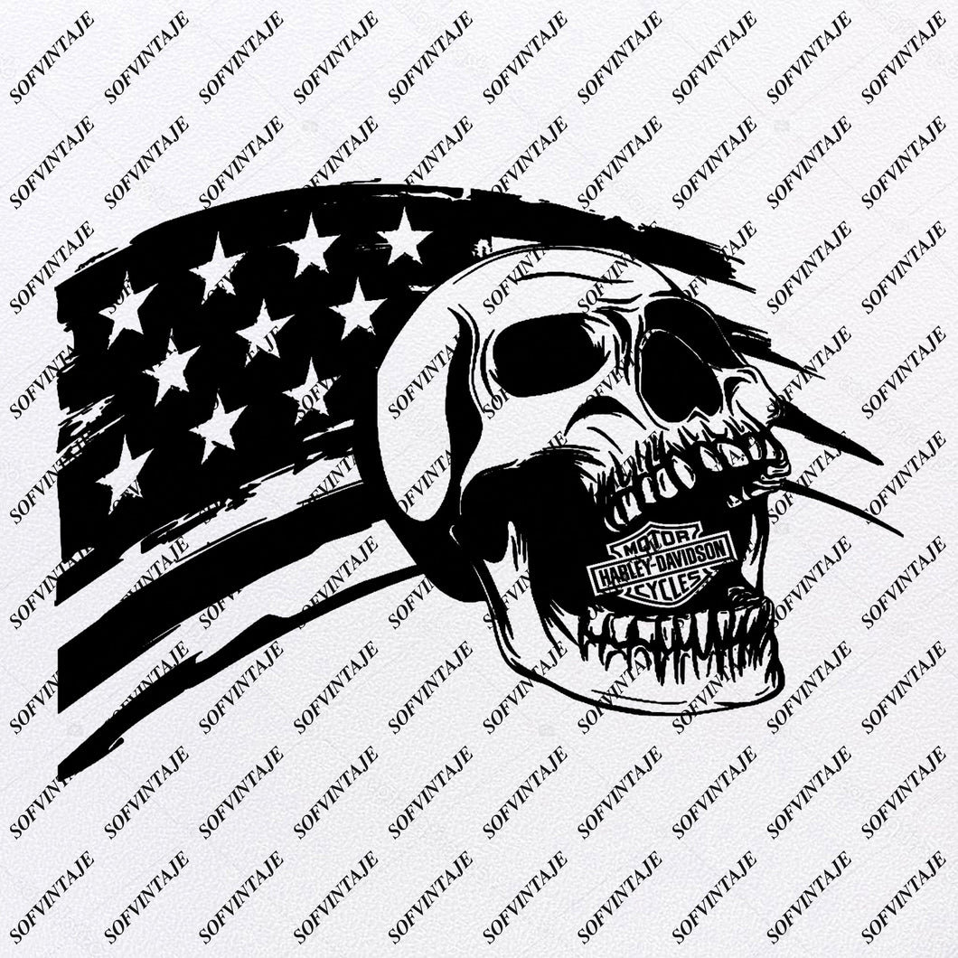 Usa Flag Svg Files - Harley Davidson Svg- Flag Design - Original Design - Svg Files For Cricut - Svg For Silhouette - American Flags Clip art - Flags - SVG - EPS - PDF - DXF - PNG - JPG - AI