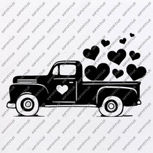 Load image into Gallery viewer, Valentines Day Svg File - Love Day Svg - Valentines Red Truck Svg - Heart Svg - Vector Graphics - Svg For Cricut - For Silhouette - SVG - EPS - PDF - DXF - PNG - JPG - AI