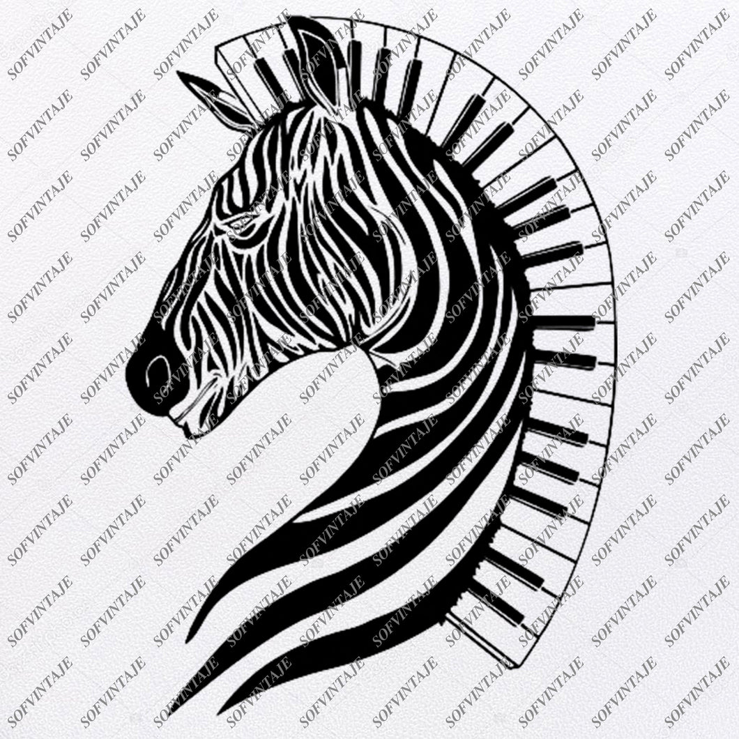 Zebra Horse-Piano Heart Svg File-Animals Svg File-Zebra For Tattoo-Zebra Horse Vector Graphics-Zebra Svg For Cricut-For Silhouette-SVG-EPS-PDF-DXF-PNG-JPG-AI