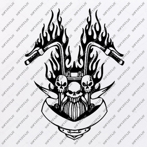 Skull With Flame Svg File-Skull Svg Design - Clipart-Motorcycles Svg File-Skull Png-Vector Graphics-Svg For Cricut-For Silhouette - SVG - EPS - PDF - DXF - PNG - JPG - AI