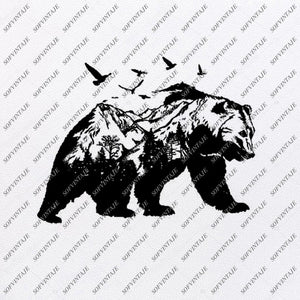 Bear Svg File - Bear Original Svg Design - Animals Svg - Clip art - Bear Vector Graphics - Svg For Cricut - Svg For Silhouette -SVG - EPS - PDF - DXF - PNG - JPG - AI