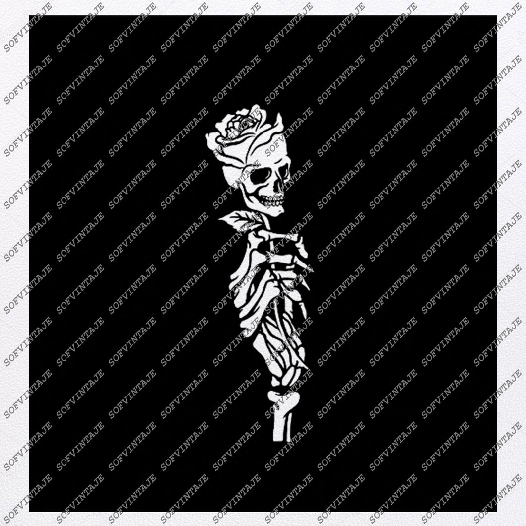 Skull Svg File-skull rose Svg Design-Clipart-Tattoo rose Svg File-Skull Png-skull rose Vector Graphics-Svg For Cricut-For Silhouette-DXF-EPS
