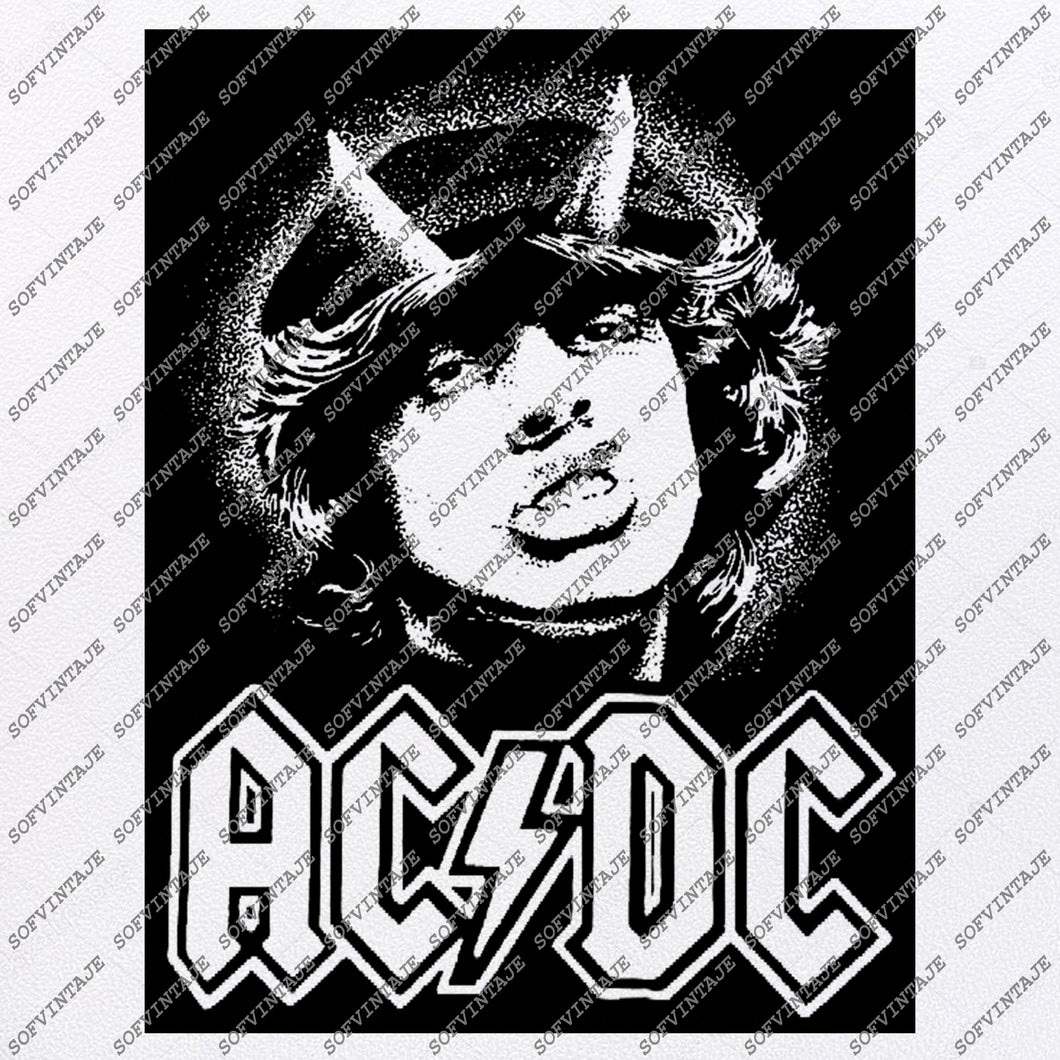 Ac/Dc Svg File-Ac/Dc Svg Design-Clipart-Music Svg File-Music Png-Vector Graphics -Svg For Cricut - For Silhouette - DXF - EPS