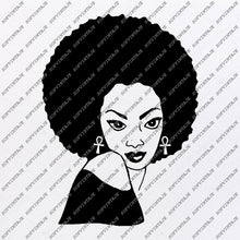 Load image into Gallery viewer, African American Girl Silhouette - Svg Files - African Girl Png - Black Girl Svg - Original Svg Design - Svg For Silhouette - SVG - EPS - PDF - DXF - PNG - JPG - AI