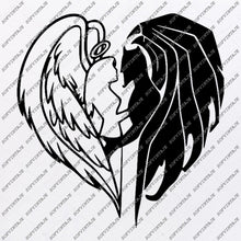 Load image into Gallery viewer, Angel and Devil Svg-Wings Of Angel and Devil Svg File-Angel and Devil Vector Graphics-For Tattoo-Svg For Cricut-For Silhouette - SVG - EPS - PDF - DXF - PNG - JPG - AI