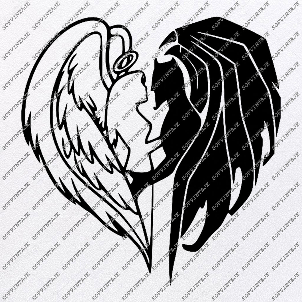 Angel and Devil Svg-Wings Of Angel and Devil Svg File-Angel and Devil Vector Graphics-For Tattoo-Svg For Cricut-For Silhouette - SVG - EPS - PDF - DXF - PNG - JPG - AI