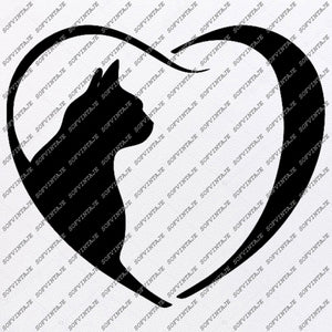 Dog Cat Love Svg File - Dog Original Svg Design -Animals Svg-Clip art-Cat Dog Vector Graphics-Svg For Cricut - Svg For Silhouette - SVG - EPS - PDF - DXF - PNG - JPG - AI