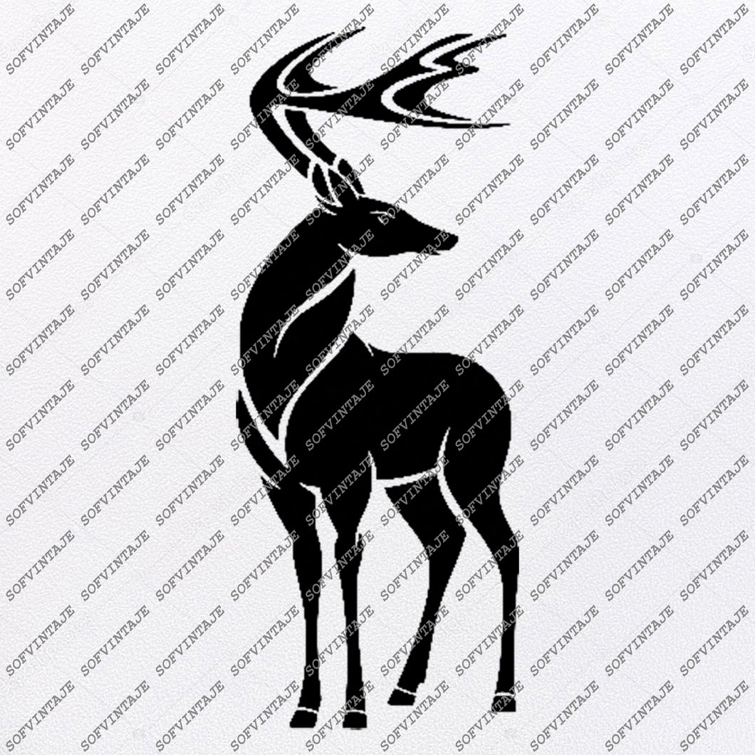 Deer Svg File-Deer Original Svg Design-Animals Svg-Tattoo Svg-Clip art-Deer Vector Graphics-Tattoo Svg For Cricut-Svg For Silhouette - SVG - EPS - PDF - DXF - PNG - JPG - AI