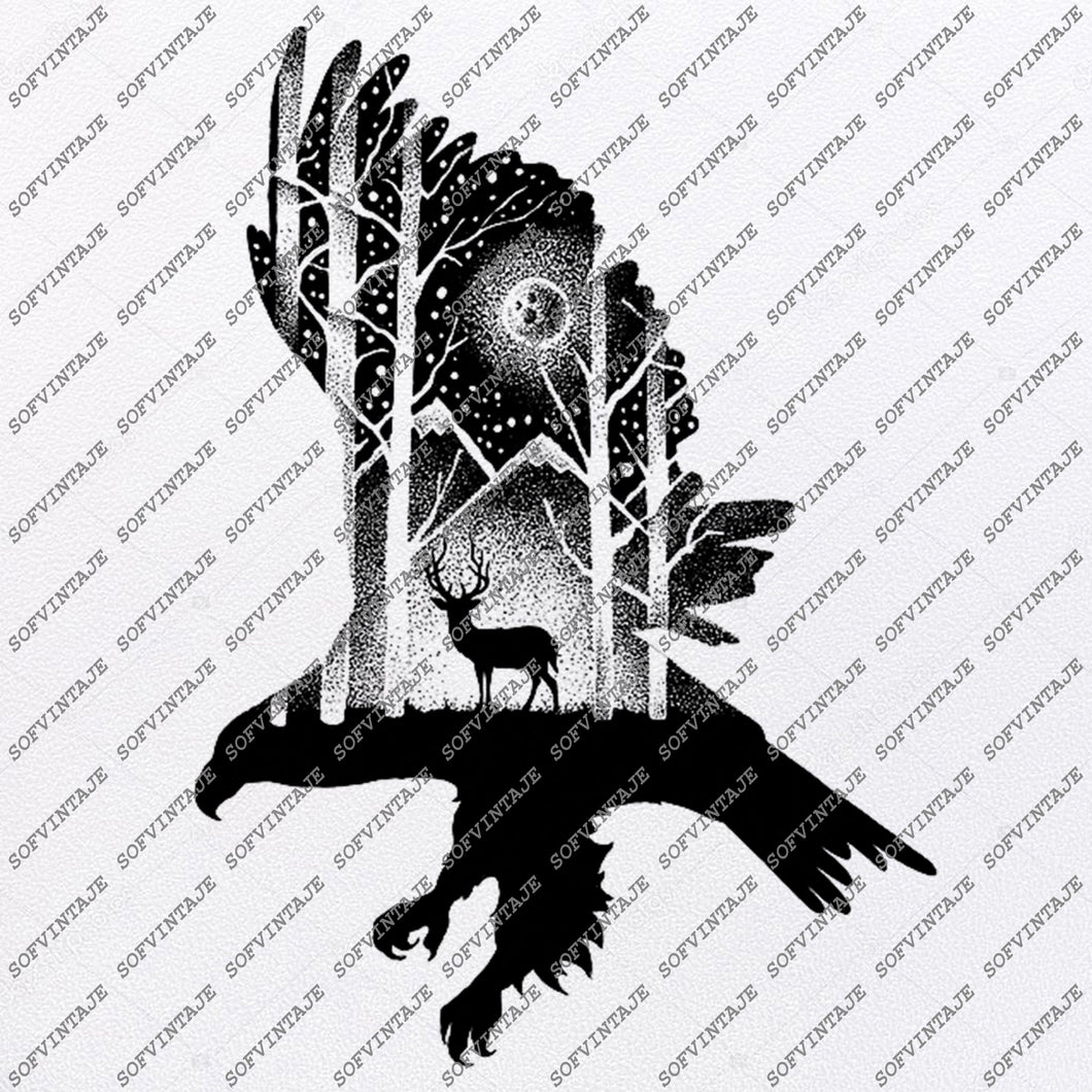 EaglE DeeR Svg File-EaglE DeeR Original Svg Design-Animals Svg-Clip art-EaglE DeeR Vector Graphics-Svg For Cricut-Svg For Silhouette-DXF-EPS