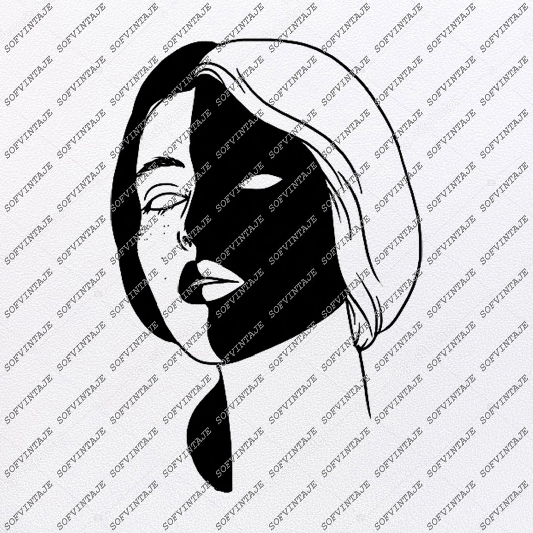 Black And White face Svg File-Woman Original Design-Wonan Clip art-Woman Svg Files-Woman Clipart-Svg For Cricut-For Silhouette -DXF – EPS