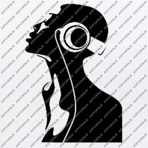 Headphone Black Girl Svg File-Girl Original Design-Grl Clip art-Girl Svg Files-Black Girl Clipart-Svg For Cricut-For Silhouette-DXF-EPS