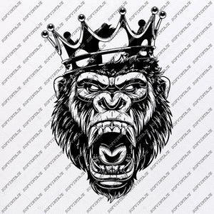 Gorilla King Svg File-Gorilla King Svg Design-Clipart-Animals Svg File-Animals Png-Vector Graphics-Svg For Cricut-For Silhouette - DXF - EPS