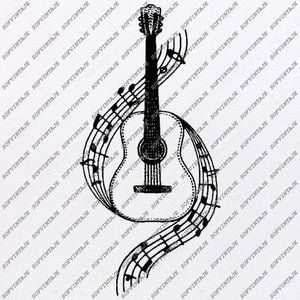 Guitar music Svg File-Guitar music Svg Design-Clipart-Music Svg File-Guitar music Png-Vector Graphics -Svg For Cricut-For Silhouette-DXF-EPS