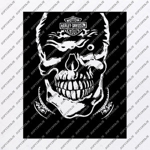Harley Davidson Svg File-Skull Svg Design - Clipart-Motorcycles Svg File-Davidson Png-Vector Graphics-Svg For Cricut-For Silhouette-DXF-EPS