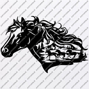 Horse Svg File-Wild Horse Original Svg Design-Animals Svg-Clip art-Horse Vector Graphics-Svg For Cricut-Svg For Silhouette - SVG - EPS - PDF - DXF - PNG - JPG - AI