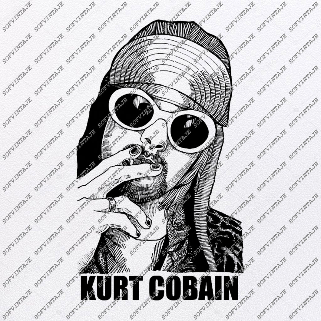 Kurt Cobain Svg File-Nirvana Original Svg Design-Music Svg-Clip art-Nirvana Vector Graphics- Svg For Cricut - Svg For Silhouette - DXF – EPS