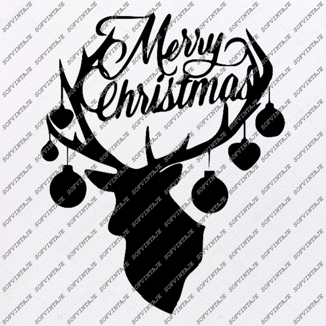 Merry Christmas Deer svg file-Deer Svg File-Deer Original Svg Design-christmas deer Svg-Tattoo Svg-Clip art-Deer Vector Graphics-Tattoo Svg For Cricut-Svg For Silhouette - SVG - EPS - PDF - DXF - PNG - AI