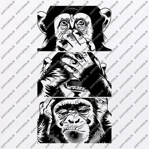 Monkey Svg File-See Nothing See Nothing Say nothing Svg Design-Clipart-Animals Svg-Png-Vector Graphics-Svg For Cricut-For Silhouette - SVG - EPS - PDF - DXF - PDF - PNG - JPG - AI