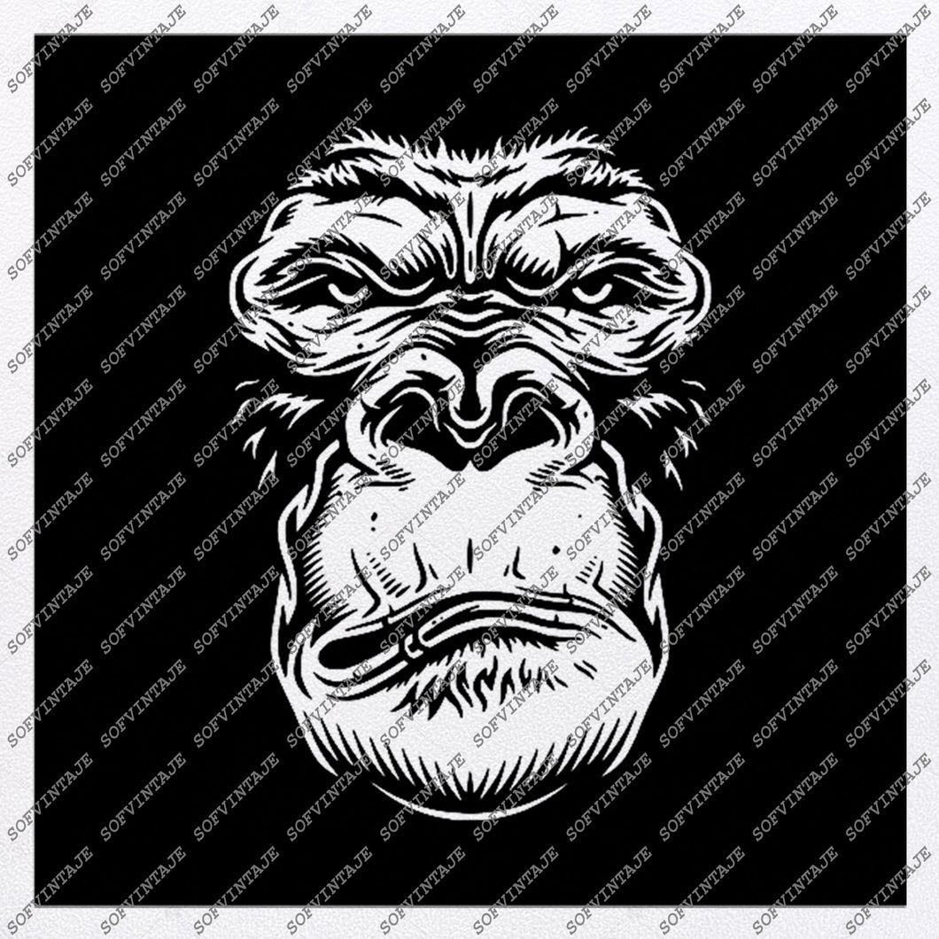 Monkey Svg File-Gorilla Svg Design-Clipart-Animals Svg File-Animals Png-Monkey Gorilla Vector Graphics-Svg For Cricut-For Silhouette-SVG-EPS-PDF-DXF-PNG-JPG-AI