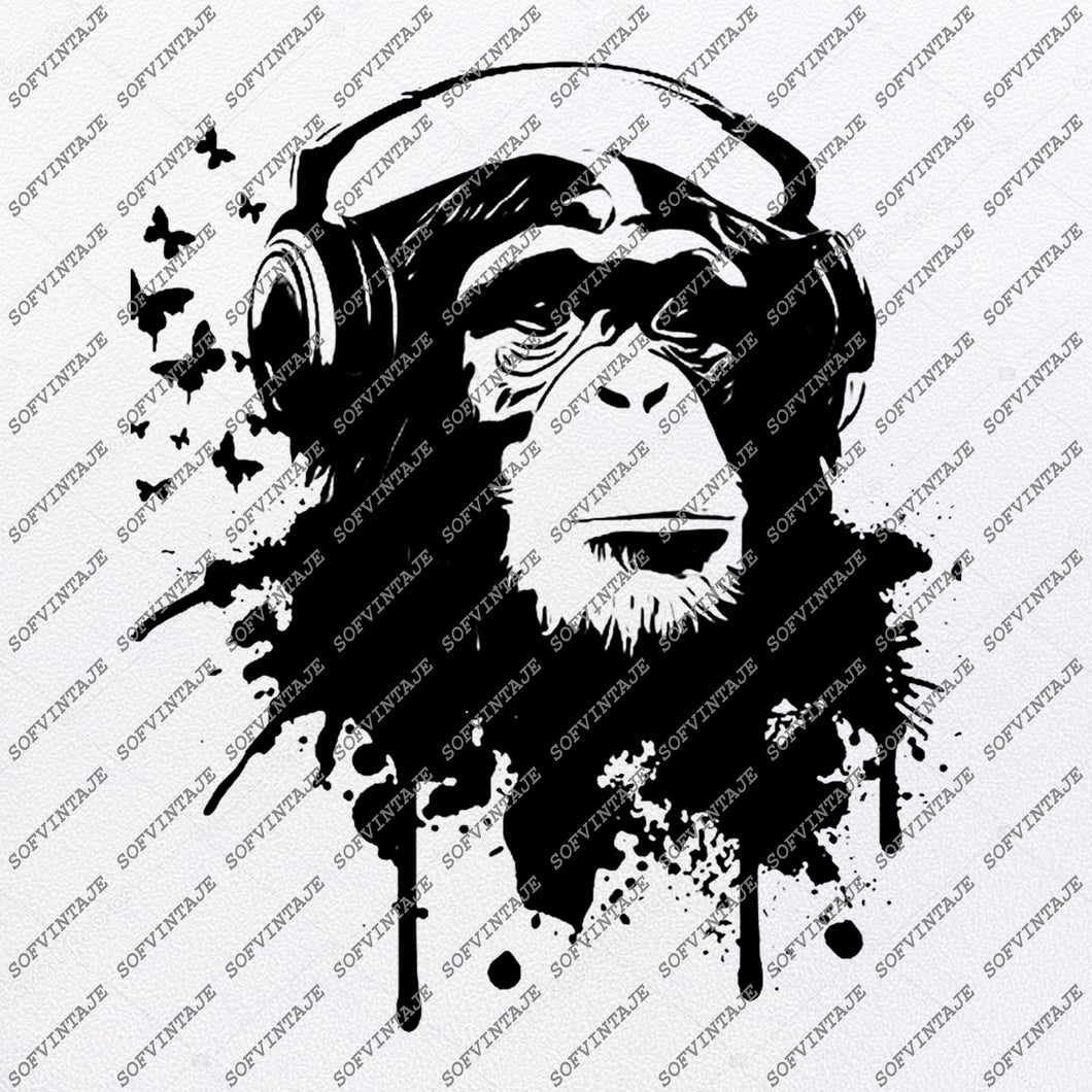 Monkey with headphones Svg File-Monkey Svg Design-Clipart-Animals Svg File-Animals Png-Vector Graphics-Svg For Cricut-For Silhouette-DXF-EP