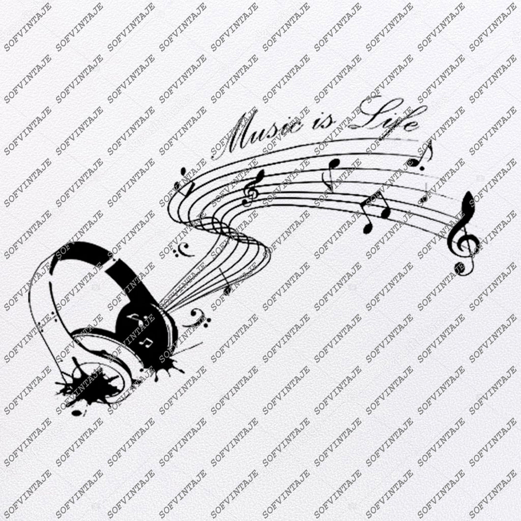 Music is My Life Svg File-Music Svg Design-Clipart-Music Svg File-Music Png-Vector Graphics - Svg For Cricut-For Silhouette-SVG-EPS-PDF-DXF-PNG-JPG-AI