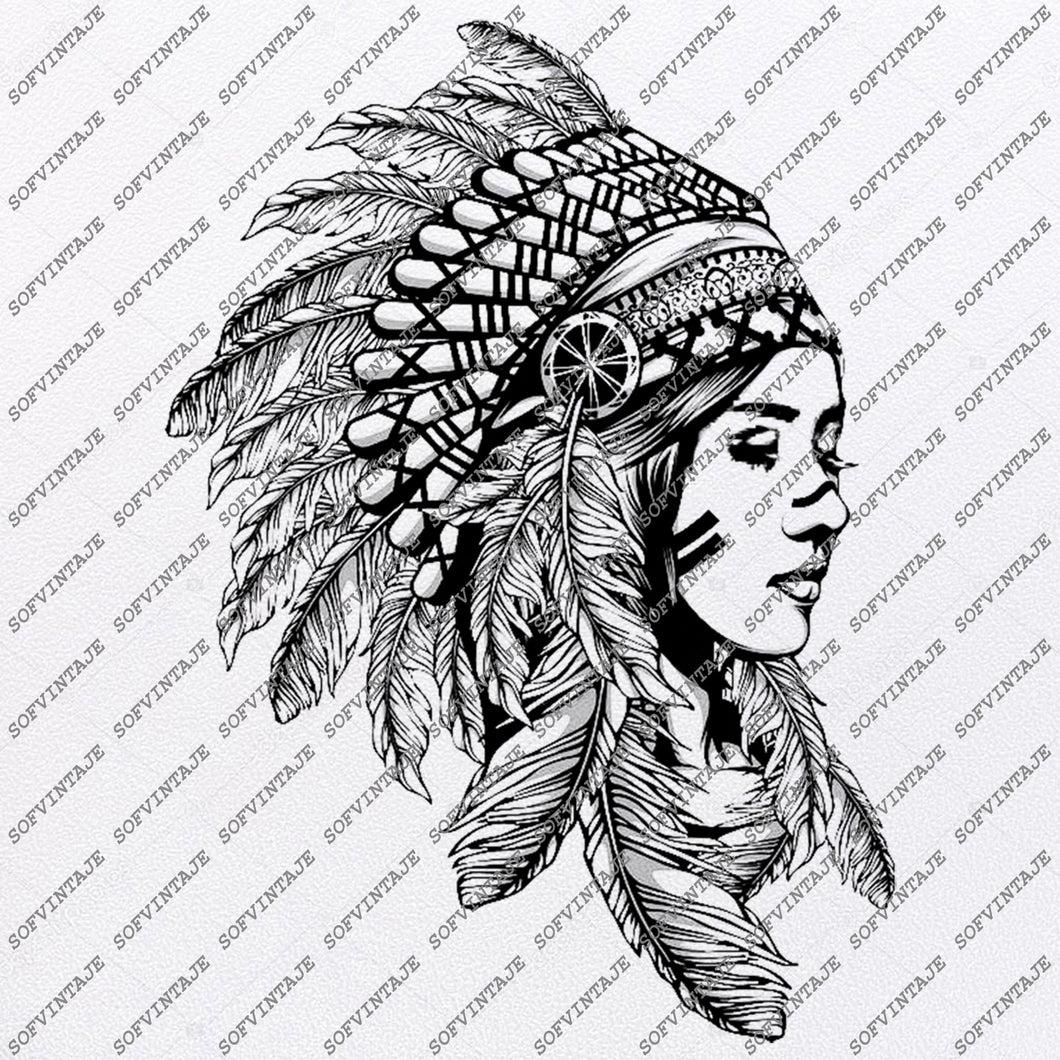Native American Girl Svg File-Eagle Original Svg Design-Tattoo Svg-Clip art-Girl Vector Graphics-Svg For Cricut-Svg For Silhouette - SVG - EPS - PDF - DXF - PNG - JPG - AI