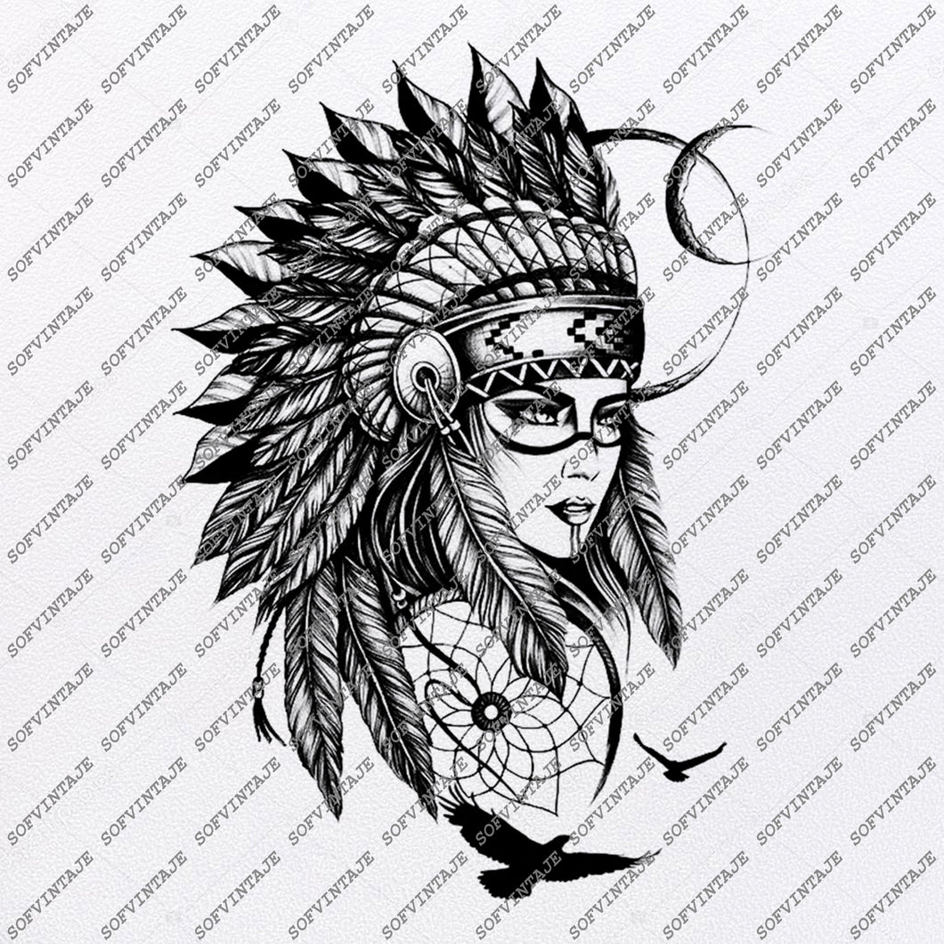 Native American Girl Svg File-american indians Original Svg Design-Svg-Clip art-Vector Graphics-Svg For Cricut-Svg For Silhouette - SVG - EPS - PDF - DXF - PNG - JPG - AI
