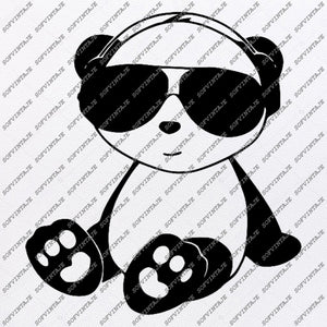 Bear Panda Svg File-Panda bear in headphones Original Svg Design-Animals Svg-Clip art-Panda Vector Graphics-Svg For Cricut-Svg For Silhouette - SVG - EPS - PDF - DXF - PNG - JPG - AI