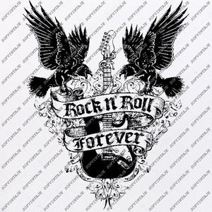 Rock N Roll Svg File-Rock N Roll Original Svg Design-Music Svg-Clip art-Rock NRoll Vector Graphics-Svg For Cricut-Svg For Silhouette-DXF–EPS